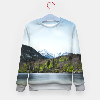 Miniatur Lake Bohinj with Alps in Slovenia Kid's sweater, Live Heroes
