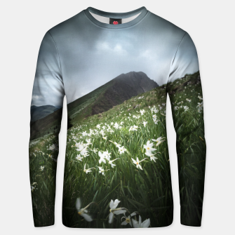 Thumbnail image of Mountain Golica and Narcissus flowers Unisex sweater, Live Heroes