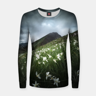 Thumbnail image of Mountain Golica and Narcissus flowers Women sweater, Live Heroes
