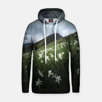 Thumbnail image of Mountain Golica and Narcissus flowers Hoodie, Live Heroes