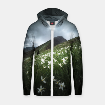 Thumbnail image of Mountain Golica and Narcissus flowers Zip up hoodie, Live Heroes