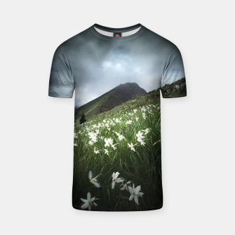 Thumbnail image of Mountain Golica and Narcissus flowers T-shirt, Live Heroes