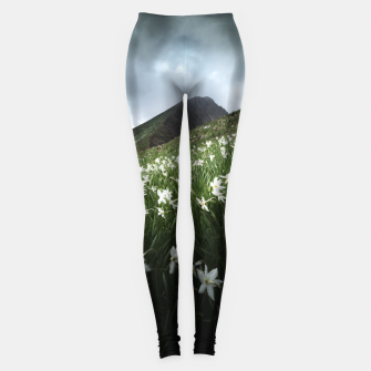 Thumbnail image of Mountain Golica and Narcissus flowers Leggings, Live Heroes