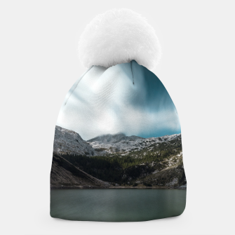 Thumbnail image of Magnificent lake Krn with mountain Krn, Slovenia Beanie, Live Heroes