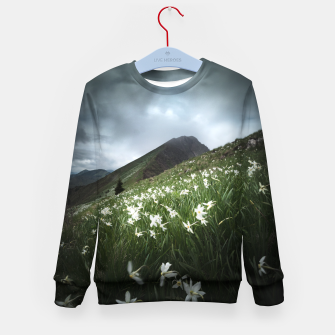 Thumbnail image of Mountain Golica and Narcissus flowers Kid's sweater, Live Heroes
