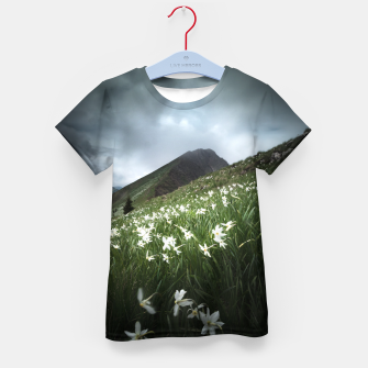 Imagen en miniatura de Mountain Golica and Narcissus flowers Kid's t-shirt, Live Heroes