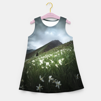 Thumbnail image of Mountain Golica and Narcissus flowers Girl's summer dress, Live Heroes
