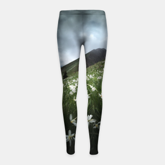 Thumbnail image of Mountain Golica and Narcissus flowers Girl's leggings, Live Heroes