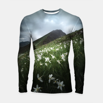 Thumbnail image of Mountain Golica and Narcissus flowers Longsleeve rashguard , Live Heroes