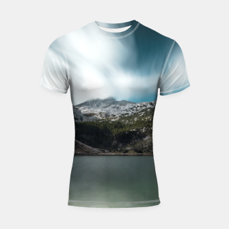 Thumbnail image of Magnificent lake Krn with mountain Krn, Slovenia Shortsleeve rashguard, Live Heroes