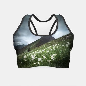 Miniatur Mountain Golica and Narcissus flowers Crop Top, Live Heroes