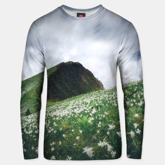 Thumbnail image of Thousands of narcissus on Golica, Slovenia Unisex sweater, Live Heroes