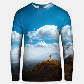Thumbnail image of Exploring new heights Unisex sweater, Live Heroes