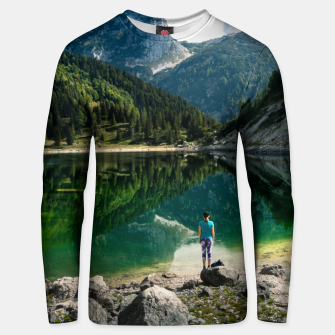Thumbnail image of Person at mountain lake Unisex sweater, Live Heroes