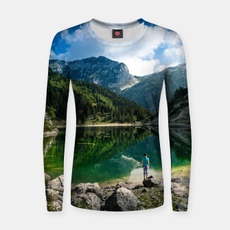 Miniatur Person at mountain lake Women sweater, Live Heroes