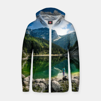 Miniatur Person at mountain lake Zip up hoodie, Live Heroes