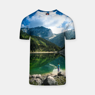 Miniatur Person at mountain lake T-shirt, Live Heroes