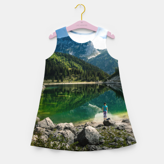 Miniatur Person at mountain lake Girl's summer dress, Live Heroes