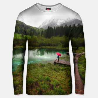 Thumbnail image of Red umbrella green lake Unisex sweater, Live Heroes