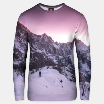 Thumbnail image of Standing in winter wonderland Unisex sweater, Live Heroes