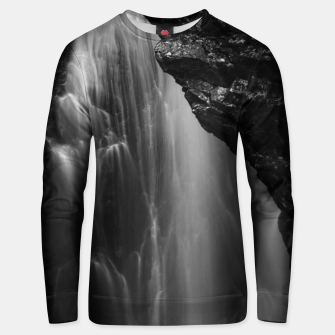 Thumbnail image of Black and white waterfall long exposure Unisex sweater, Live Heroes
