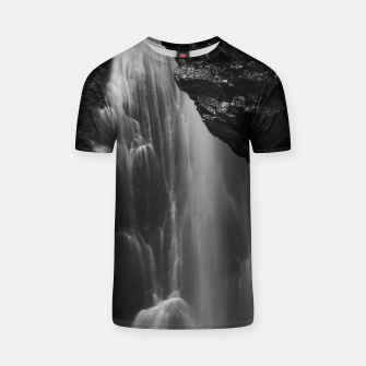 Thumbnail image of Black and white waterfall long exposure T-shirt, Live Heroes