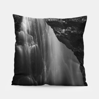 Thumbnail image of Black and white waterfall long exposure Pillow, Live Heroes
