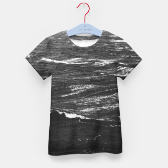 Imagen en miniatura de Black and white photo of a stormy sea Kid's t-shirt, Live Heroes