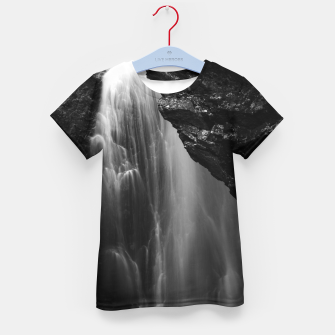 Imagen en miniatura de Black and white waterfall long exposure Kid's t-shirt, Live Heroes