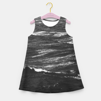Miniaturka Black and white photo of a stormy sea Girl's summer dress, Live Heroes