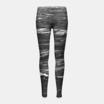 Miniaturka Black and white photo of a stormy sea Girl's leggings, Live Heroes