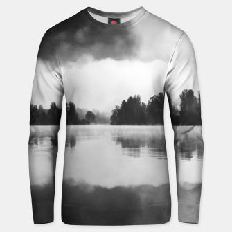 Thumbnail image of Morning fog above the lake in black and white Unisex sweater, Live Heroes