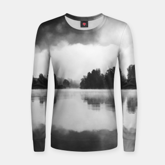Thumbnail image of Morning fog above the lake in black and white Women sweater, Live Heroes