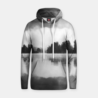 Thumbnail image of Morning fog above the lake in black and white Hoodie, Live Heroes