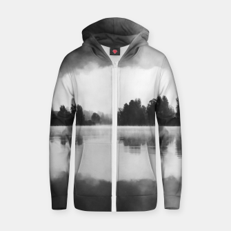 Thumbnail image of Morning fog above the lake in black and white Zip up hoodie, Live Heroes
