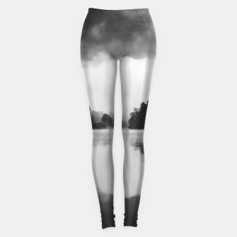 Thumbnail image of Morning fog above the lake in black and white Leggings, Live Heroes
