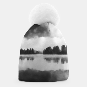 Thumbnail image of Morning fog above the lake in black and white Beanie, Live Heroes