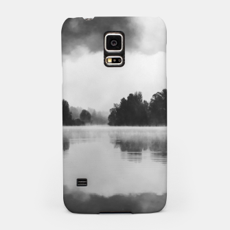 Thumbnail image of Morning fog above the lake in black and white Samsung Case, Live Heroes