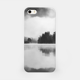 Thumbnail image of Morning fog above the lake in black and white iPhone Case, Live Heroes