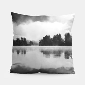 Thumbnail image of Morning fog above the lake in black and white Pillow, Live Heroes