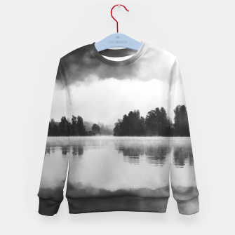 Thumbnail image of Morning fog above the lake in black and white Kid's sweater, Live Heroes