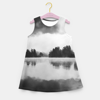 Thumbnail image of Morning fog above the lake in black and white Girl's summer dress, Live Heroes