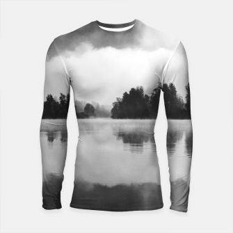 Thumbnail image of Morning fog above the lake in black and white Longsleeve rashguard , Live Heroes