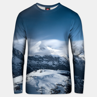 Thumbnail image of Clouds rolling above snowy mountains Unisex sweater, Live Heroes