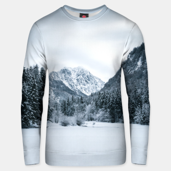 Thumbnail image of Mountains and frozen lake Zgornje Jezersko Unisex sweater, Live Heroes