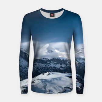 Thumbnail image of Clouds rolling above snowy mountains Women sweater, Live Heroes