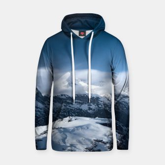 Thumbnail image of Clouds rolling above snowy mountains Hoodie, Live Heroes