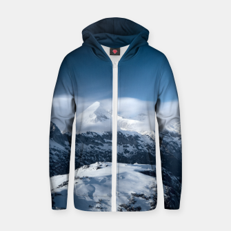 Thumbnail image of Clouds rolling above snowy mountains Zip up hoodie, Live Heroes