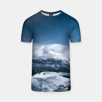 Thumbnail image of Clouds rolling above snowy mountains T-shirt, Live Heroes