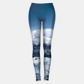 Thumbnail image of Clouds rolling above snowy mountains Leggings, Live Heroes